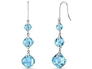 14 kt White Gold 11.75 Carats Swiss Blue Topaz Earrings