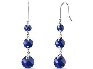 14 kt White Gold 12.00 Carats Blue Sapphire Earrings