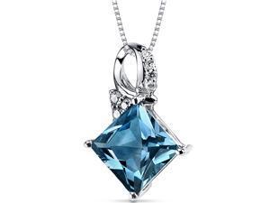 London Blue Topaz Diamond Pendant 14Kt White Gold 4 Cts