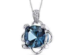 London Blue Topaz Diamond Pendant 14Kt White Gold 9.5 Cts