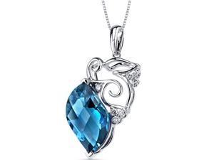 London Blue Topaz Diamond Pendant 14Kt White Gold 9.3 Cts