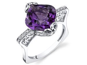 Amethyst Ring 14Kt White Gold 4.6 Cts