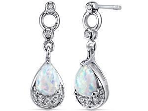Opal Dangle Earrings Sterling Silver 1.00 Carats