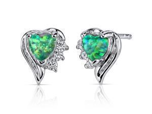 Green Opal Earrings Sterling Silver Heart Shape 1.00 Carats