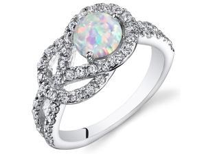 Opal Ring Sterling Silver with CZ Accent 0.75 Carats Size 9
