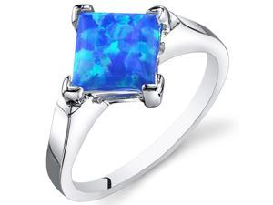 Blue-Green Opal Ring Sterling Silver Princess Cabochon 1.50 Carats Size 6