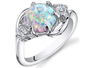 Opal Ring Sterling Silver 3 Stone 1.75 Carats Size 6