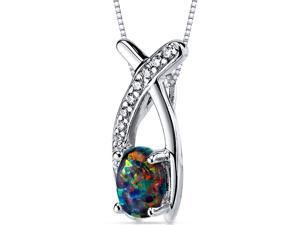Black Opal Pendant Necklace Sterling Silver Oval Shape 0.75 Carats