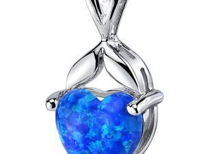 Blue-Green Opal Pendant Necklace Sterling Silver Heart Shape 2.50 Carats