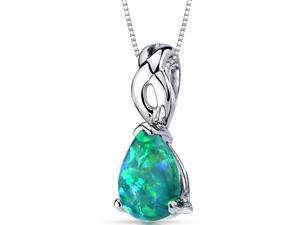 Green Opal Pendant Necklace Sterling Silver Pear Cabochon 1.75 Carats