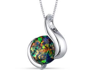 Black Opal Pendant Necklace Sterling Silver Round Cabochon 1.75 Carats