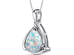 Opal Pendant Necklace Sterling Silver Pear Shape 1.50 Carats