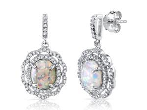 2.50 Carats Halo Design Created Opal Earrings in Sterling Silver