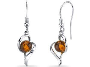 Oravo Baltic Amber Open Spiral Earrings Sterling Silver Cognac Color