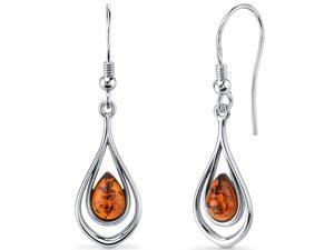 Oravo Baltic Amber Dangle Earrings Sterling Silver Cognac Color Tear Drop Shape