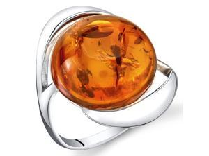 Baltic Amber Swirl Ring Sterling Silver Cognac Color Large Round Shape, Sizes 5 through 9