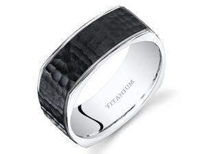 Oravo Black Titanium Mens Square Wedding Band Ring 8mm Stippled Finish Sizes 7-14