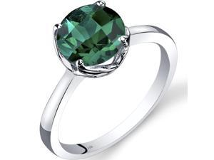 14K White Gold Created Emerald Solitaire Ring 1.75 Carat Checkerboard Cut Size 7