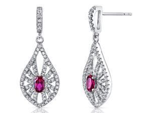 14K White Gold Created Ruby Chandelier Earrings 0.50 Carats