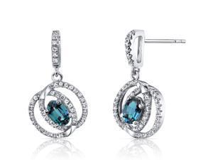 14K White Gold Created Alexandrite Earrings Dual Halo Design 1.00 Carats