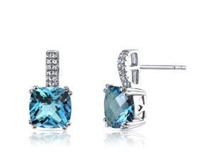 14K White Gold Swiss Blue Topaz Earrings Cushion Checkerboard Cut 5.00 Carats