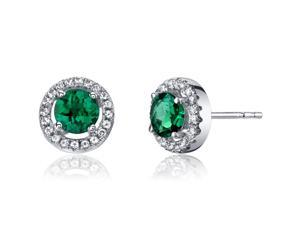 14K White Gold Created Emerald Halo Earrings Round Checkerboard Cut 1.00 Carats