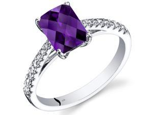 14K White Gold Amethyst Ring Radiant Cut 1.25 Carats Size 5-9