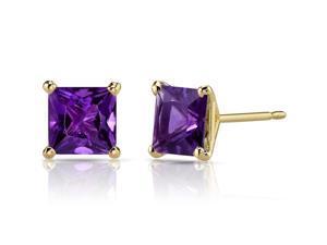 14K Yellow Gold Princess Cut 2.00 Carats Amethyst Stud Earrings
