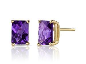 14K Yellow Gold Radiant Cut 1.75 Carats Amethyst Stud Earrings