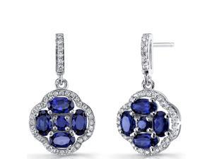 Created Blue Sapphire Clover Dangle Drop Earrings Sterling Silver 2.5 Carats