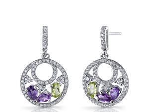 Amethyst and Peridot Sterling Silver Double Hoop Dangle Drop Earrings