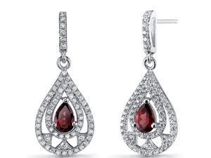 Garnet Chandelier Drop Earrings Sterling Silver 1 Carats