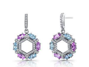Created Pink Sapphire and Swiss Blue Topaz Hexagon Dangle Earrings Sterling Silver
