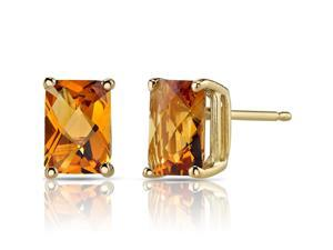 14K Yellow Gold Radiant Cut 1.75 Carats Citrine Stud Earrings