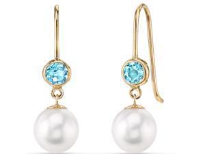 14K Yellow Gold Swiss Blue Topaz Freshwater Cultured Pearl Earrings
