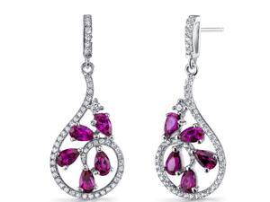 Created Ruby Dewdrop Earrings Sterling Silver 2.5 Carats