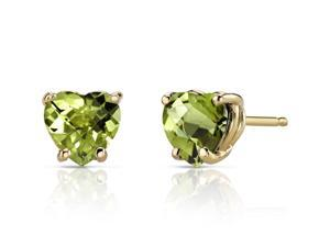 14K Yellow Gold Heart Shape 1.75 Carats Peridot Stud Earrings