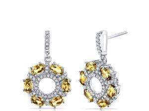 Citrine Dahlia Drop Earrings Sterling Silver 3 Carats