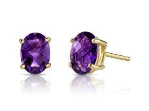 14K Yellow Gold Oval Shape 1.50 Carats Amethyst Stud Earrings