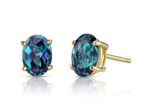 14K Yellow Gold Oval Shape 2.00 Carats Created Alexandrite Stud Earrings