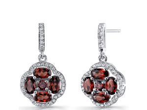Garnet Clover Dangle Drop Earrings Sterling Silver 2.5 Carats