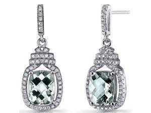 Green Amethyst Halo Crown Dangle Earrings Sterling Silver 3.5 Carats