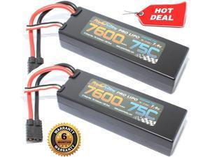 PowerHobby 2S 7.4.V 7600mAh 75C Lipo Battery 2 Pack w Traxxas Plug Hard Case (2)