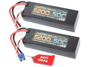 PowerHobby 2S 7.4.V 5200mAh 50C Lipo Battery 2 Pack w EC3 Plug Hard Case (2)