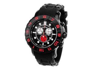 Aquaswiss 96XG061 Man's Chronograph Watch Swiss Rugged Collection Black and Red Bezel Black Case Rubber Strap