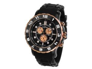 Aquaswiss 96XG036 Man's Chronograph Watch Swiss Rugged Collection Black and White Bezel Black Stainless Case Rubber Strap