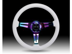 NEO CHROME STEERING Wheel, 350mm, WHITE wood, 3 spoke center in Neochrome, JDM, DRift, race NRG Innovations ST-015MC-WHITE