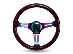 NEO CHROME STEERING Wheel, 350mm, PURPLE wood, 3 spoke center in Neochrome, JDM, DRift, race NRG Innovations ST-015MC-PP  PURPLE