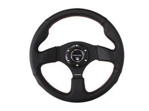 NRG Steering Wheel 320mm Race Sport Leather Red Stitch