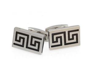 Stainless Steel Cufflinks with Black Ion Plate inserts